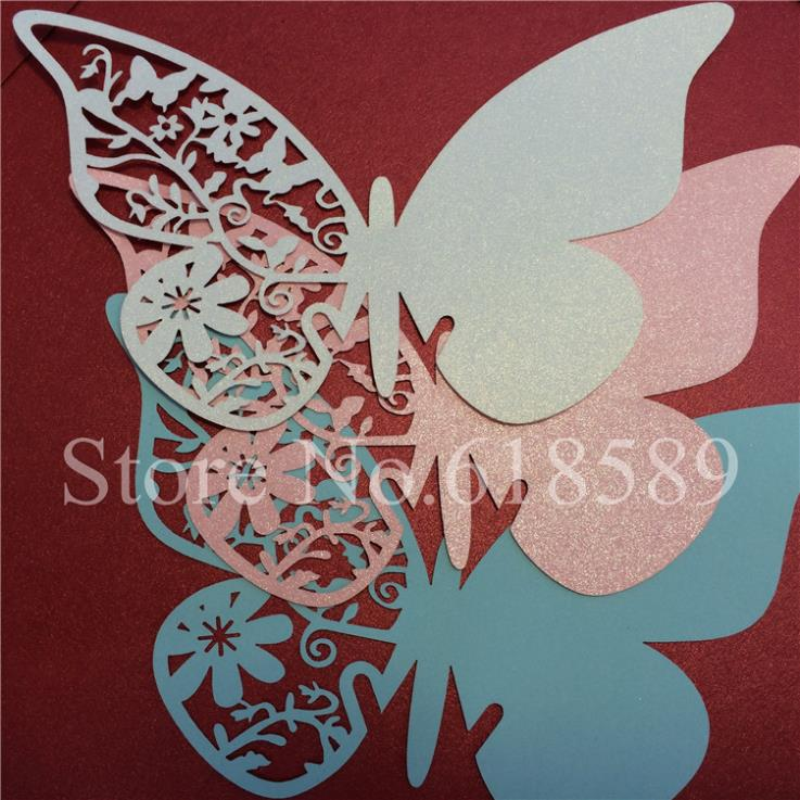 60pcs/Lot Laser Cut Butterfly Place Card Wedding Decoration Butterfly Cards Wine Glass Escort Place Card Paper Card(China (Mainland))