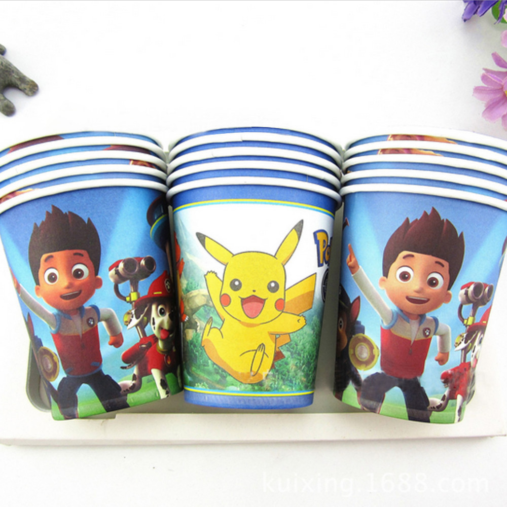 10pcs/Lot PAW Patrol /Frozen/Pokemon Go Disposable Paper Cups of Degradable Kids Birthday Party Drinking Pikachu Cartoon Cups(China (Mainland))