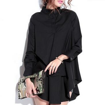Большой размер женщин блузки и рубашки с длинным рукавом 2015 мода осень зима рубашки женщины сплошной цвет женская верхняя одежда с отложным воротником