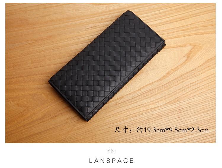 LANSPACE мужской кожаный долго бумажник моды тканые длинный кошелек бренд кошелек