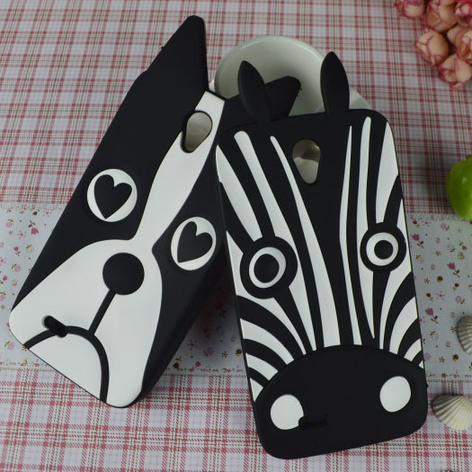 New Cute White&Black Lovely Dog Zebra Rubber cell phone case for Lenovo A850 (Not A850+) back cover Hood Shell Housing Bag(China (Mainland))