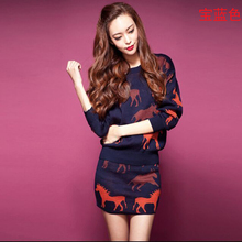 Large size Women 2016Korea Autumn Winter Latest Fashion Knitted Suits Elegant Printing Slim Long-sleeved Sweater Two-piece G0397