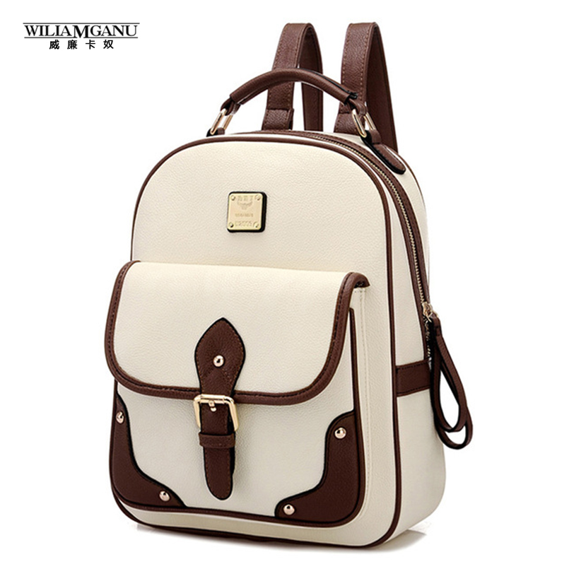 WILIAMGANU 2016 Fashion High Quality Brand Patchwork Women Travel Bag Women's PU Leather Backpack School Backpack(China (Mainland))