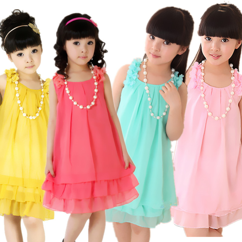 girls chiffon necklace dress wholesale fashion teenage beach sundress kids baby vacation party gril children clothing 2-14 years(China (Mainland))