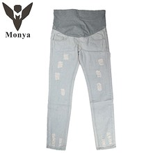 2016 Hot Sale New Woven Pregnancy Ropa Premama Pregnant Women Jeans Worn Fashion Casual Trousers For Pants Abdominal No Stretch