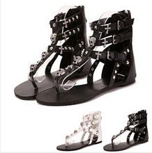 SUMMER STYLE Retro Skull shoes women 2015  & Flip Flops Cross Rivets Lady Flats Female Zip Strap Sandalias Women Shoes sandals