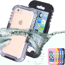 For 6S Waterproof Transparent Crystal Clear Case For iphone 6S/6 Plus Swimming Diving Cellphone Hard Full Cover For iphone 6S