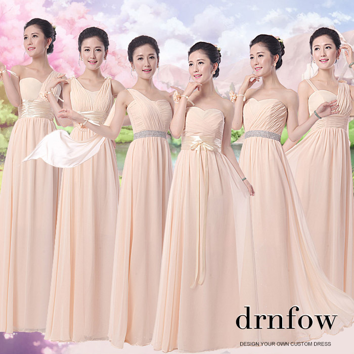 Cheap bridesmaid dress champagne color 2016 chiffon long for Plus size champagne colored wedding dresses