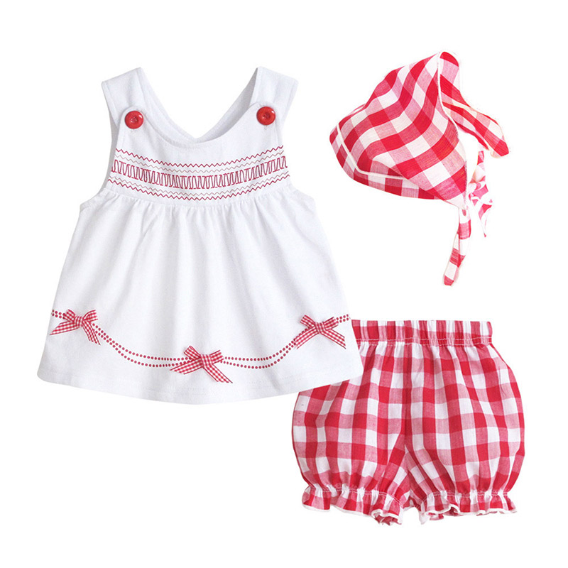 NEW Summer 2016 Baby Girls Outfit Top Short Headband 3pec Clothes Sets Fashion Lattices tutu Infant