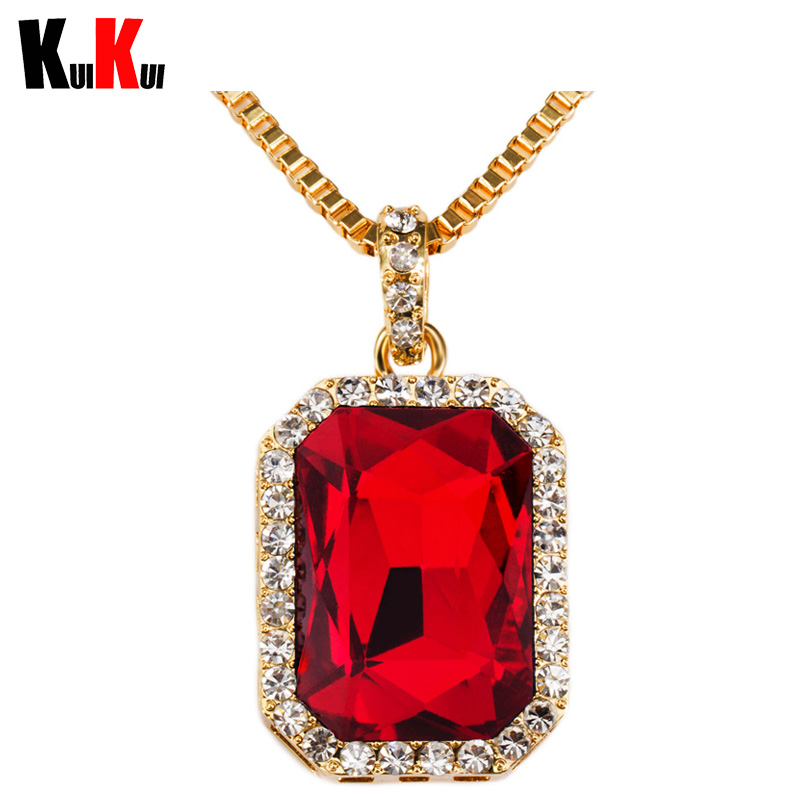 18K Gold Plated Hip Hop Dance Chains Men/Women Red Black Blue Green White Ruby Pendant Bling Bling Necklace(China (Mainland))