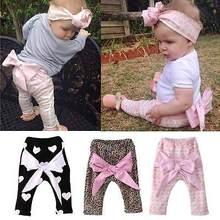 2016 Baby Toddler Kids Girls Bottoms Cartoon Leopard Bownot Geometric Heart Leggings Knit PP Pants For Boys UK