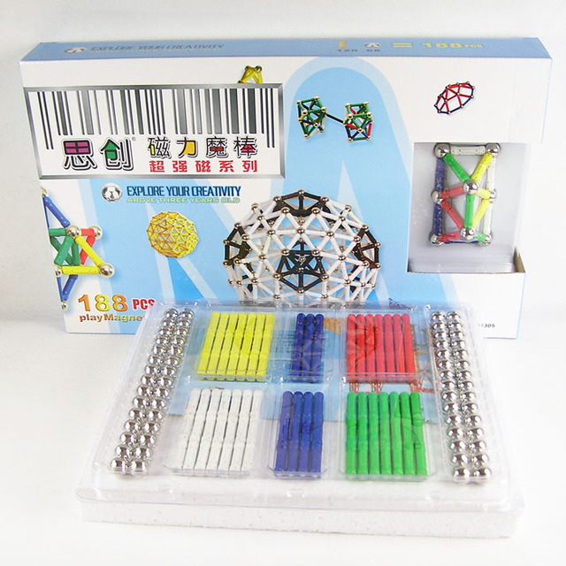 Educational toys child 188 pcs magnetometric magic wand
