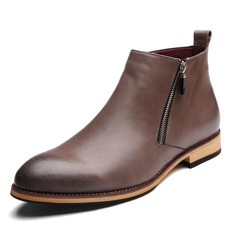 New Arrival Men Boots Fashion Leather Boots Men Ankle Boots Men Leather Shoes Zip Spring Autumn