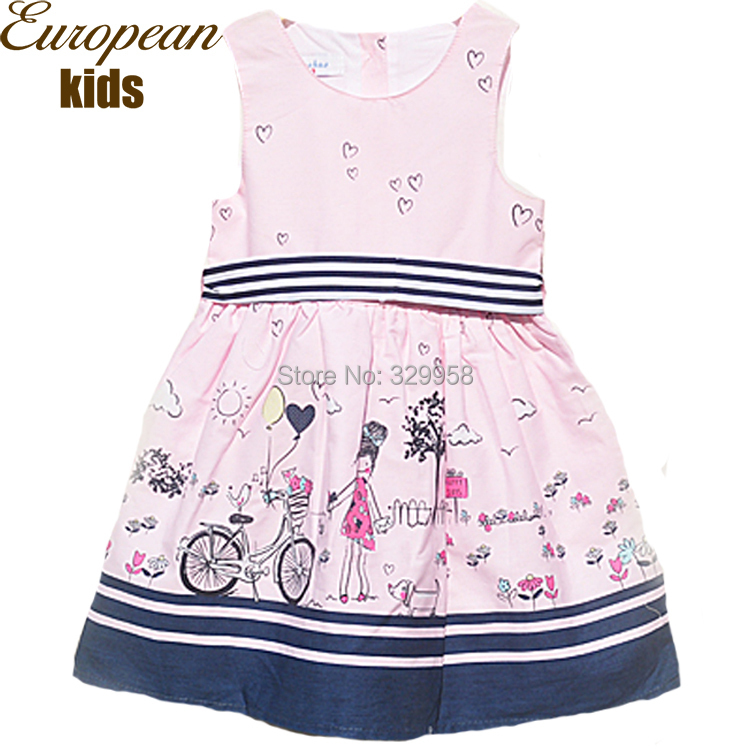 2015 Summer Style Baby Girls Dress Printing Sleeveless Casual Dress Brand Designer Kids Clothes Princess Party Dresses for Girls(China (Mainland))