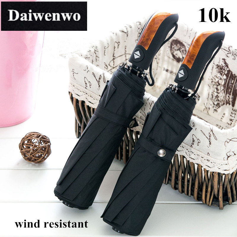 Y13 New 2016 Three Folding Umbrellas Rain With Wooden Handle 10 Rib Brand Daiwenwo Quantity Black Umbrella For Men(China (Mainland))