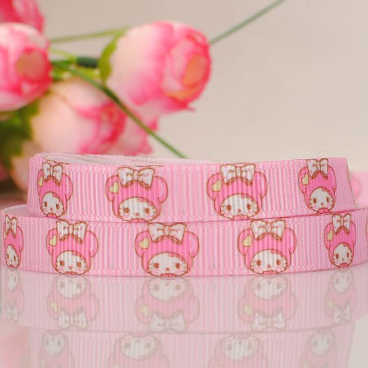 "ruban Cartoon Hello kitty silk Tape 3/8"" Printed Grosgrain satin Ribbon DIY wedding Fabric handmade hair accessories 714-1(China (Mainland))"
