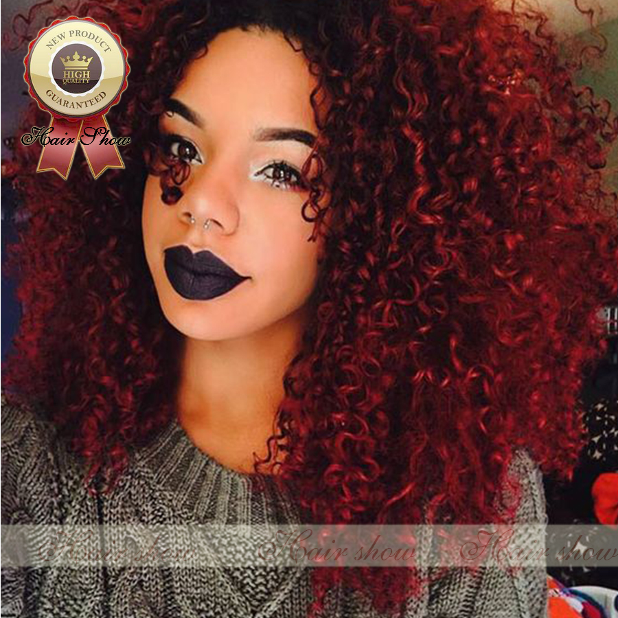 2016 Fashion Style Ombre Red Kinky Curly Wigs 7a Full Lace Human Hair Wigs Brazilian Hair Wigs
