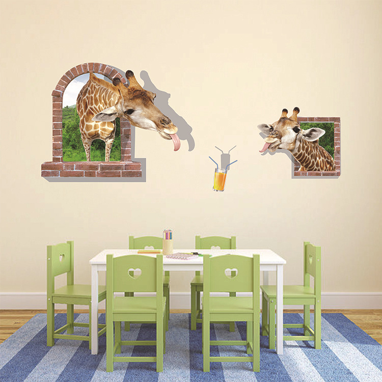 3D three-dimensional wall stickers Giraffe / creative children's room cartoon stickers / TV backdrop / Home Supplies(China (Mainland))