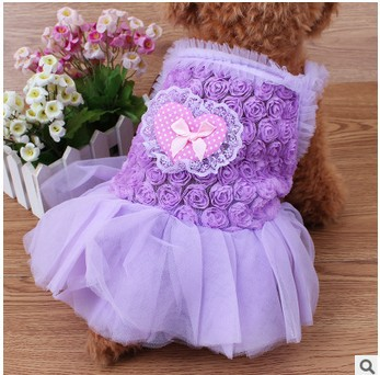 Dog clothes Princess lace roses love Wedding dress Cat Puppy Princess Skirt clothes Pearls&Fungus Lace design 4 size 3 colours(China (Mainland))