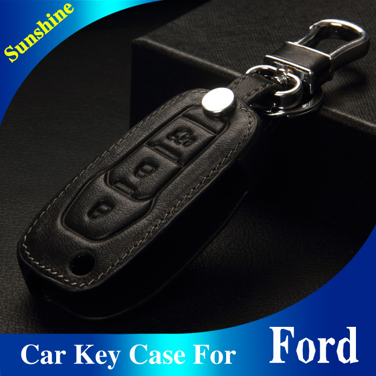 New Arrival Genuine Cow Leather Car Key Wallets Key Holders Bags Black/Brown For Ford Focus Kuga New Edge Mondeo Ecosport ESCORT(China (Mainland))