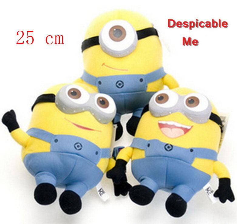 Free shipping despicable me 3D eyes plush Toy 25cm minions stuffed dolls jorge stewart dave minion plush toys HT498(China (Mainland))