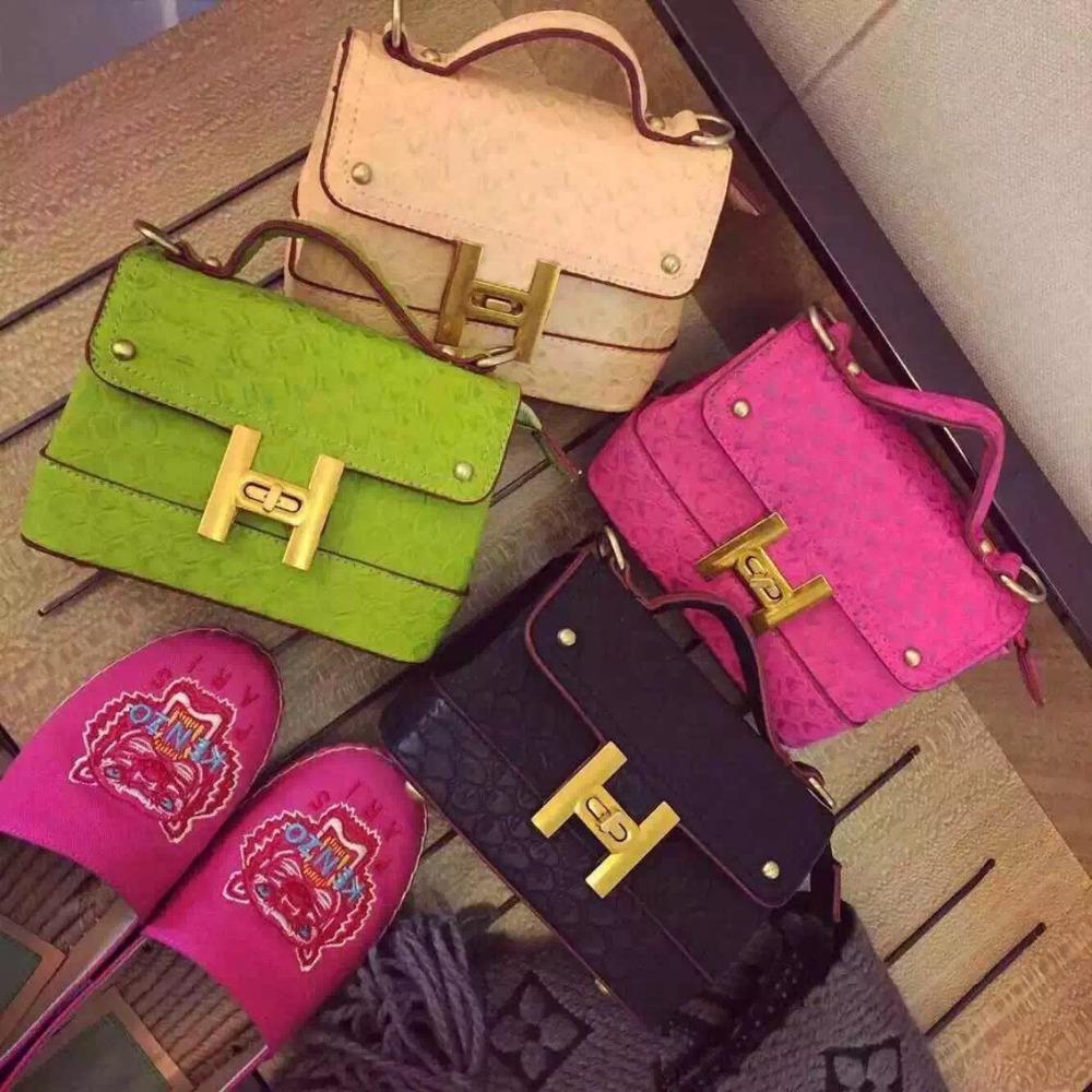 candy handbag fashion solid color shoulder bag small pink kakki tote elegant vintage dating ostrich bag for women lady party bag(China (Mainland))