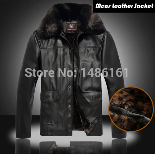 2015 New Winter Male Fur Stand Collar Thickening And Wool Windbreak Waterproof Lether Jackets Men s