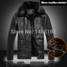 2015 New Winter Male Fur Stand Collar Thickening And Wool Windbreak Waterproof Lether Jackets Men's Leather Coat
