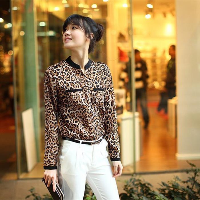 Женщины блузка леопардовый принт рубашка длинный рукав V - шея верхний без тары блузы шифон рубашка Camisa Feminina одежда