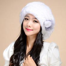 Russian Women Winter Knit Fur Beret Real Rex Rabbit Fur Berets Natural Rabbit Fur Berets Real