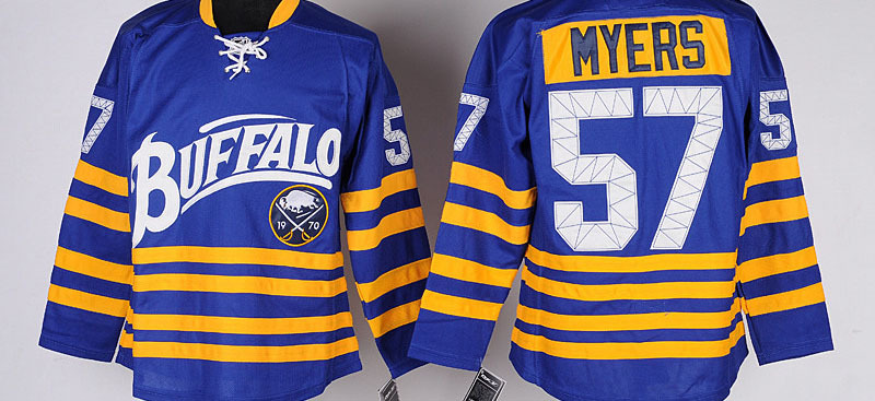 Buffalo Sabres Mens Jerseys #57 TYLER MYERS Blue Ice Hockey Jersey,Size M-3XL,Embroidery Logos Mixed Orders