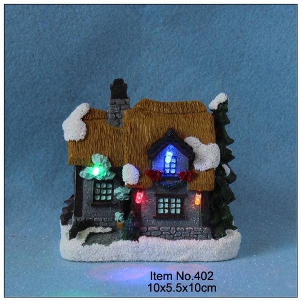 4 inchPaper mache Christmas decoration house led lights,fiber optic light - Love Heart Home Decor store