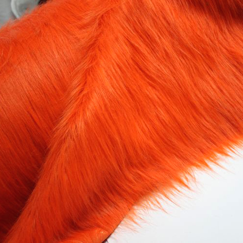 Orange solid shaggy faux fur fabric long pile fur costums - Plaid fausse fourrure rose ...