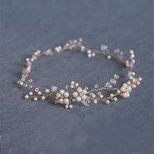 Fashion Floral Gold bridal hair accessories Handmade Pearl Hair Jewelry Wedding Accessories Headband Women Headpiece(China (Mainland))