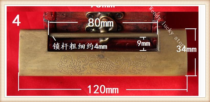 011 Antique Chinese copper lock open padlock lock Vintage small padlock lock hardware accessories(China (Mainland))