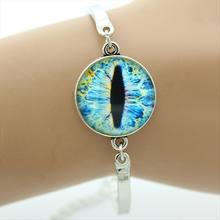 Bracelet mauvais œil dôme en verre plaqué argent bijoux en métal Bracelet bonne chance Talisman Art breloque bracelet bijoux(China)