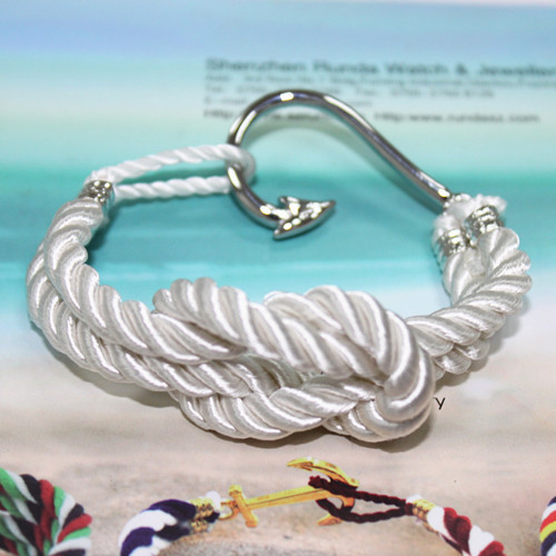 wholesale cotton rope bracelet fish hook men bracelets for stainless steel sailor anchor jewelry and fashion metal charm(China (Mainland))