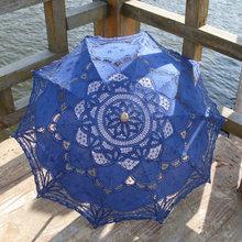 Classic Multi-color Noble Elegant Palace Style Long Arm Wedding Bridal Umbrella Embroidery Gingham Lace Parasol Sun Umbrella(China (Mainland))
