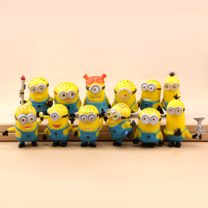 New Despicable Me Minion Action Figure Minions Toys 12pcs/set Puppets Kids Gift Pvc Model Movie & Tv Arrival(China (Mainland))