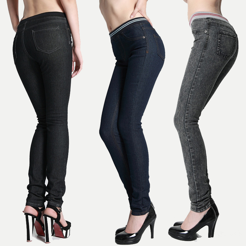 Excellent Plus Size Clothing Women39s Trousers Elastic Waist Jeans Female Casual