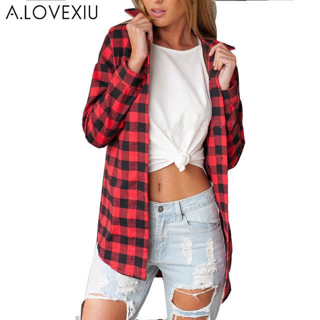 Womens red plaid shirts blouses blouse styles for Places to buy flannel shirts