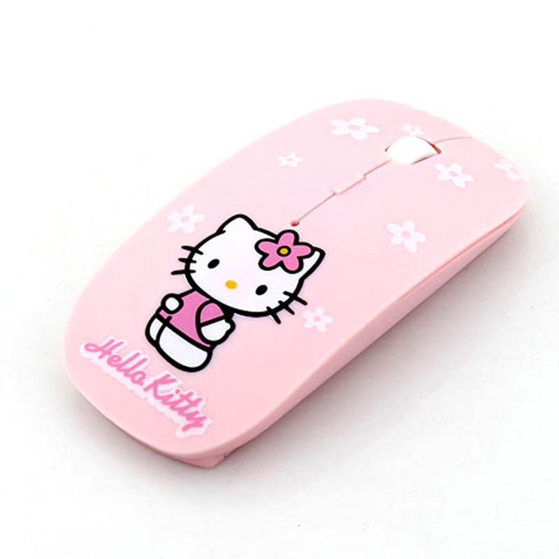 Wireless Mouse Ultra Thin Hello Kitty Computer Mouse 2.4GHz 1200DPI Optical Gaming Mouse Mice Pink free ship(China (Mainland))