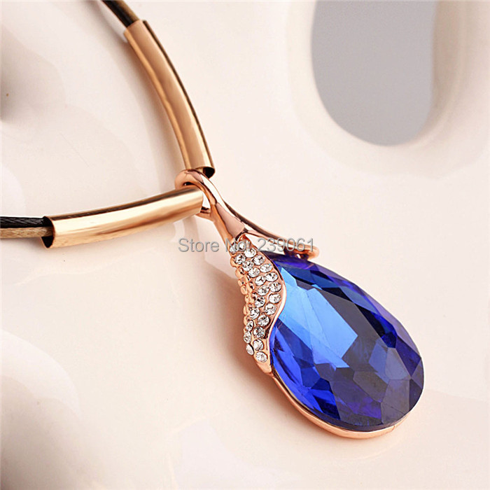 Hot Popular New Fashion Brand Casual Blue Water Drop Imitation Gem Pendants Necklace Women Charms Romantic Jewelry - Hawaii Arts store