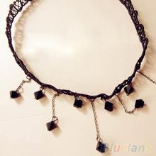 Women Black Beads Pendant Crystal Bib Chain Jewelry Collar Choker Necklace 1PYL 2TS9