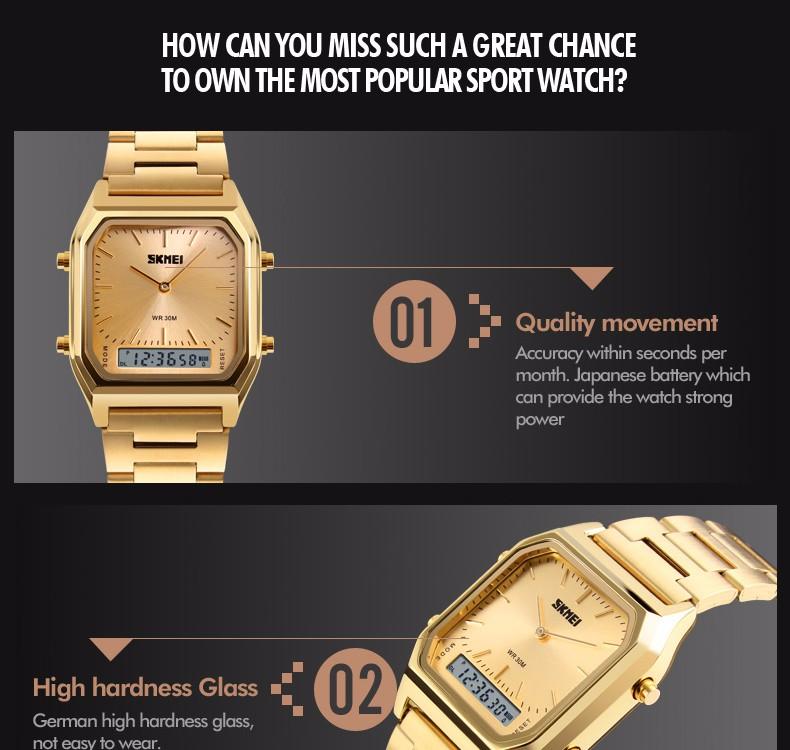 Skmei 1220 Men Fashion Casual Quartz Watch Dual Display Digital Wristwatches EL Light Chronograph Alarm Relogio Masculino