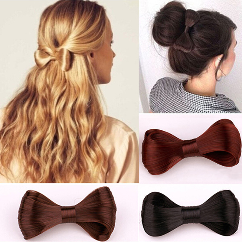 Large Size 12*6.5cm Girls Vintage Bow Tie Hairpin Synthetic Straight Hair Fine Bowknot Clip In Hair Extensions PP12(China (Mainland))