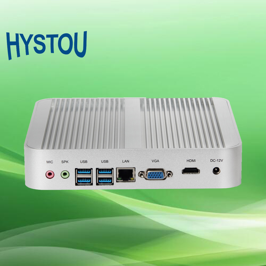 Hystou 1~3 Years Warranty Fanless PC 4GB RAM 128GB SSD Media Server i5 4200U Mini PC Windows 10 Mini Computer HDMI VGA 4k HTPC(China (Mainland))
