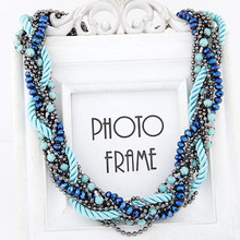 Fashion Necklace Multilayer Chain Twisted Temperament Collares Women Choker Blue /Black Statement Necklace 2015 bijoux collier(China (Mainland))