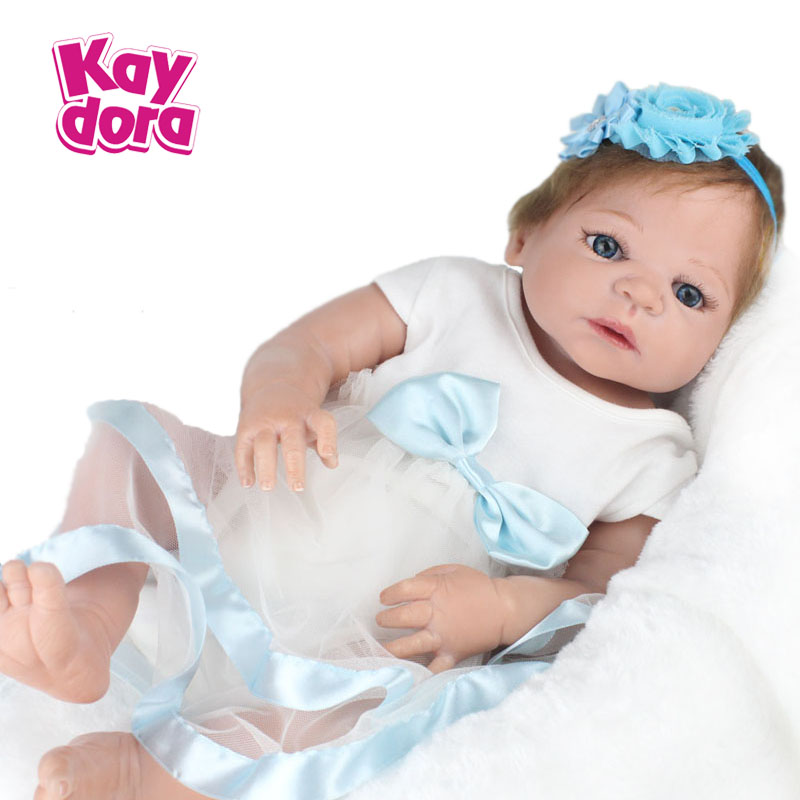 """55cm Realistic Doll Full Silicone Reborn Babies Handmade Girl Gift Toys For Kids 22"""" Soft Dolls with Lilght Blue Dress Set(China (Mainland))"""