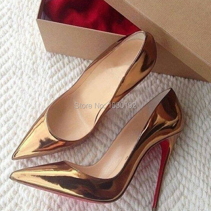 Bosting Gold Metallic Patent Leather Red Bottoms High Heel Shoes Office Lady Pointed Toe 120MM Stiletto Pump Dress Shoes 43 44(China (Mainland))